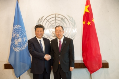 Chinese President Xi Jinping meets with United Nations Secretary-General Ban Ki-moon Saturday, Sept. 26, 2015 at United Nations headquarters. (AP Photo/Bryan R. Smith)