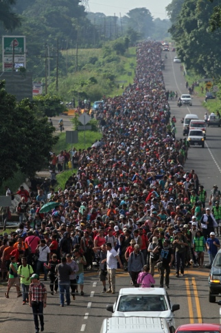 Honduran migrants continue their march to the US border in Mexico